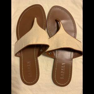 Lauren Ralph Lauren flat canvas sandals, size 9'5